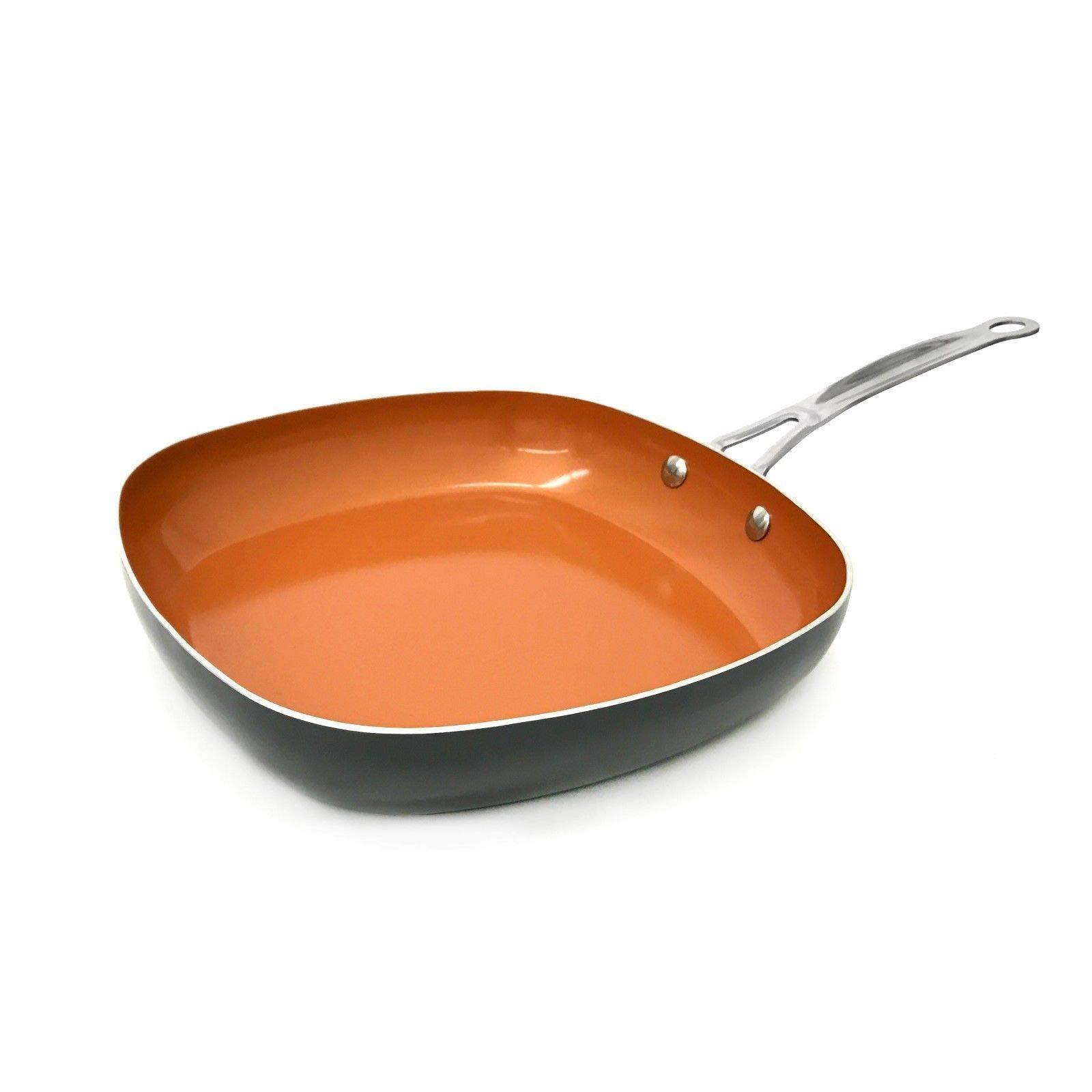 Gotham Steel 1735 Copper Square Shallow Pan with Super Nonstick Ti-Cerama Coating, 11 Inch