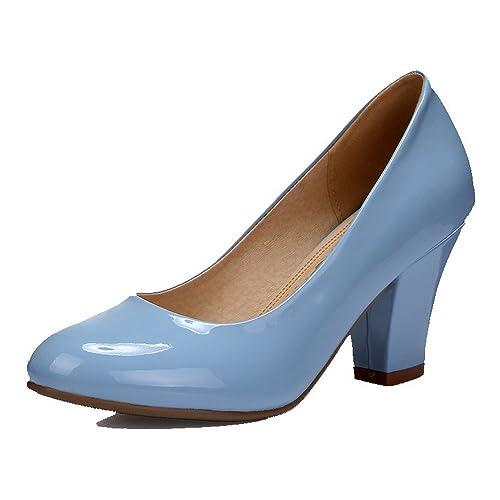 VogueZone009 Mujeres Puntera Redonda Cerrada Tacón Grueso Sin cordones Sólido De salón, Azul, 40