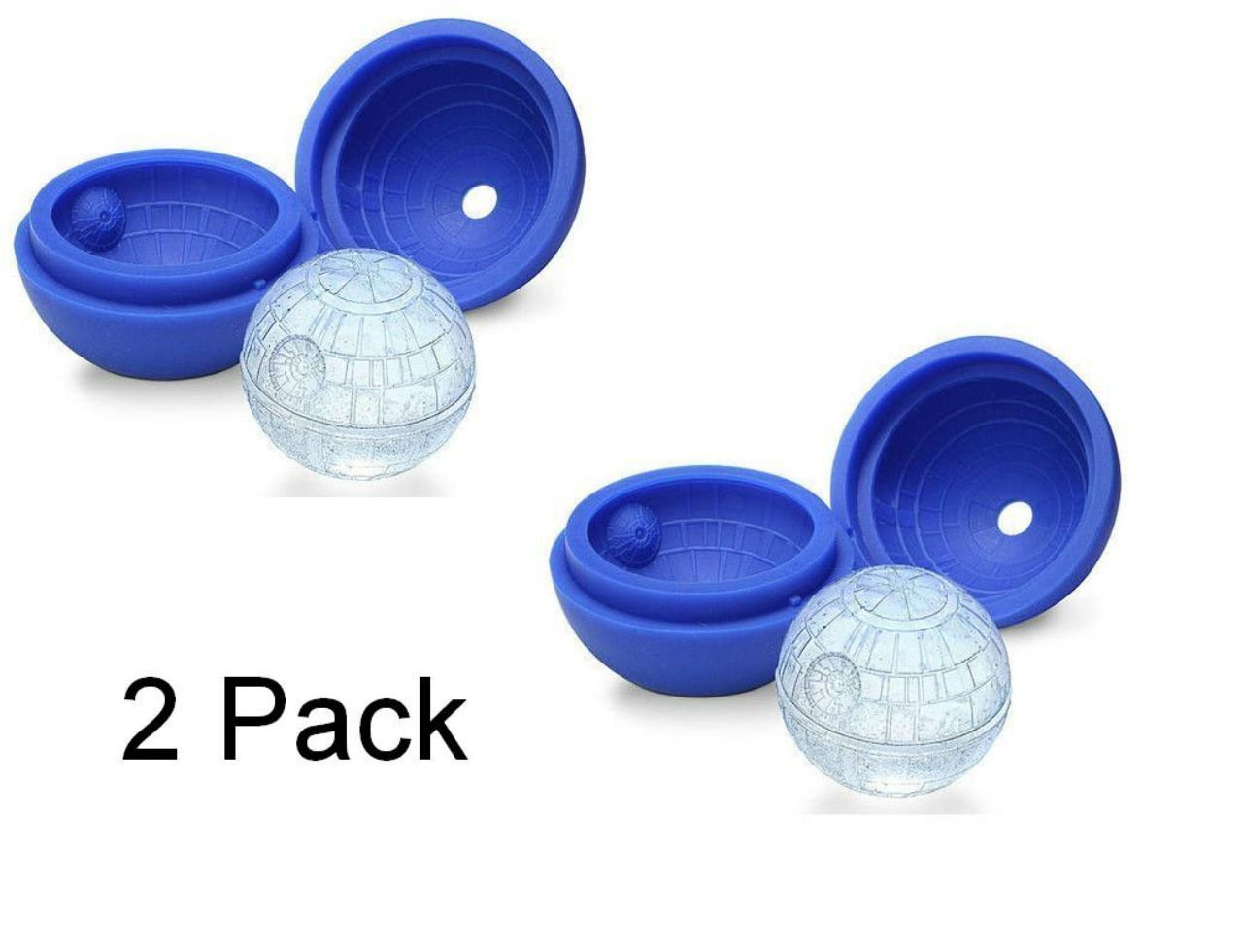 2 Pack 2.5in Food Grade Silicone Sphere Ice Ball Maker,Ice Ball Molds,Ice Ball Cube,Ice Ball Tray for Star Wars Lovers or Party Theme 2-Pack Blue