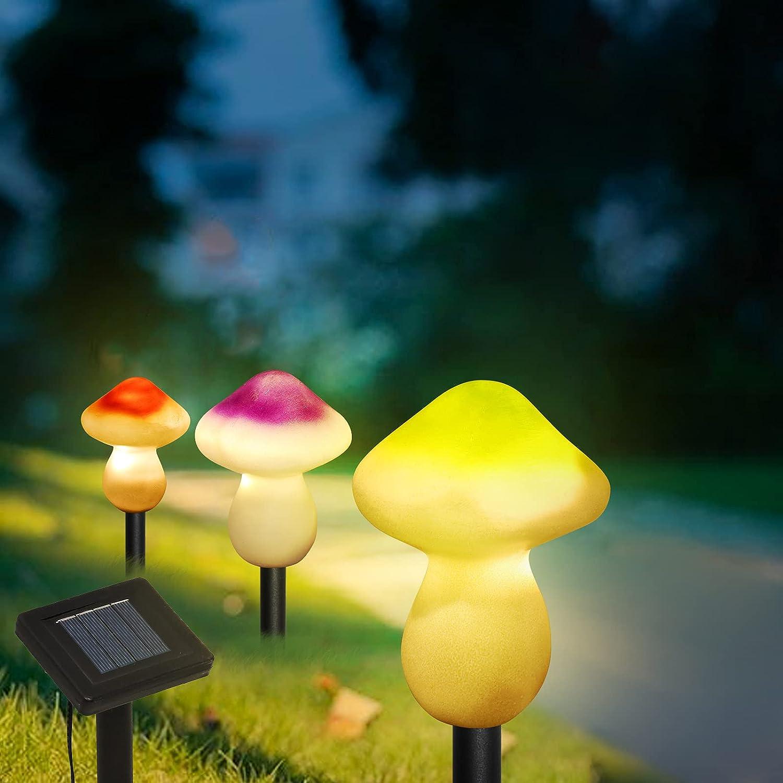 Outdoor Solar Garden Lights, Solar Mushrooms Light for Garden,Yard Decorations Mushroom, Backyard, Lawn,Potted Plants,Path Lights -( 3 Color Mushrooms )