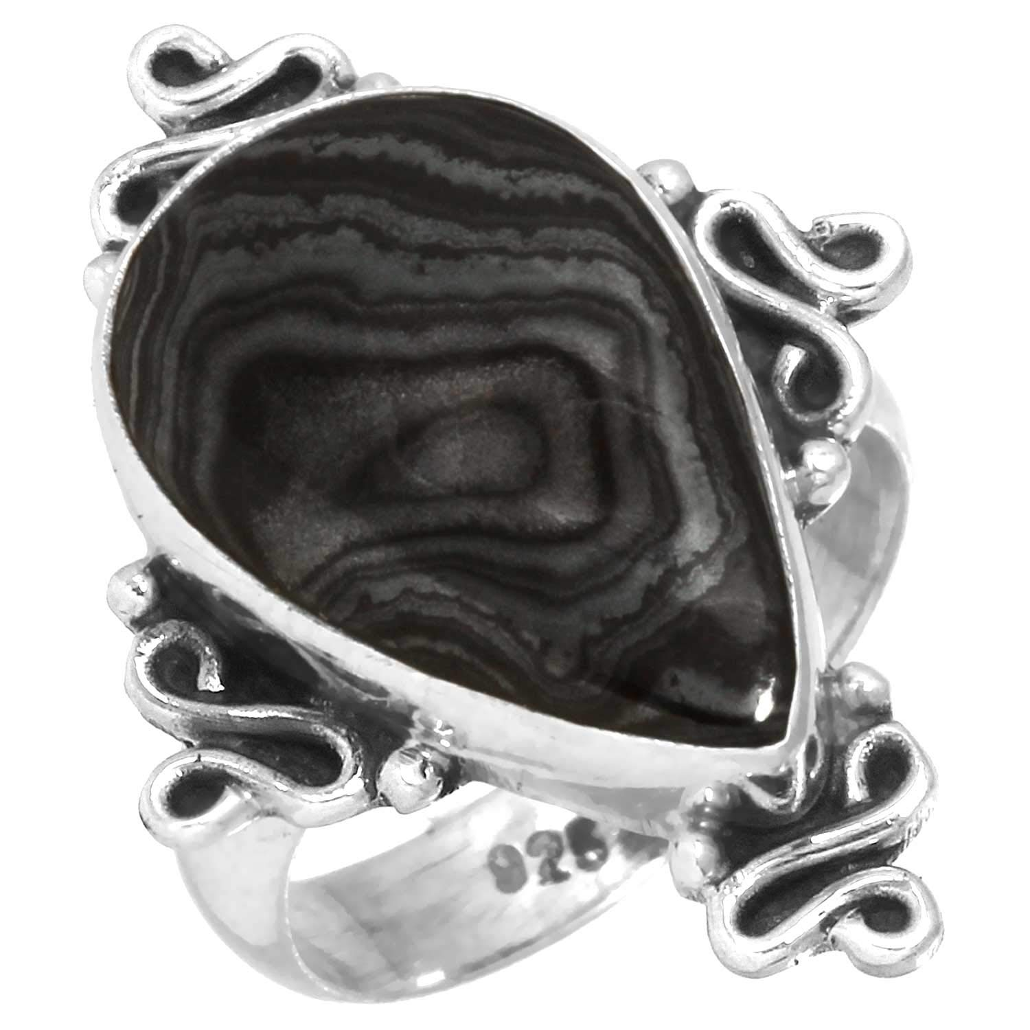 Natural Crown of Silver Psilomelane Handcrafted Jewelry Solid 925 Sterling Silver Ring Size 5