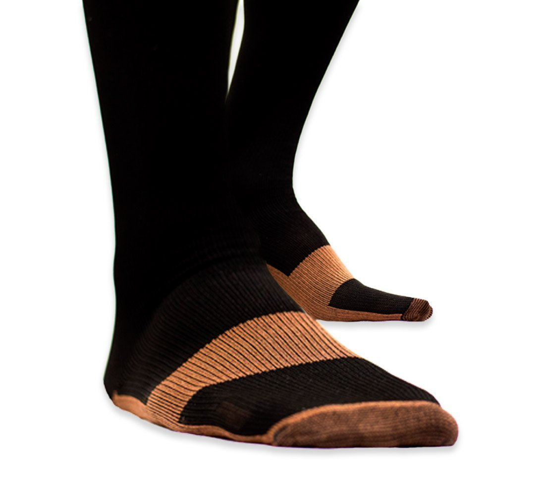 Dr.Cherif's Comfort 5 Pack Compression Copper Socks Great For Calves, Arches, Soles.. High Copper Compression Socks Aid in Blood Circulation Relieves Pain and Varicose Vei