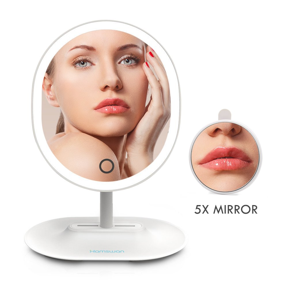 LED Lighted Makeup Vanity Mirror, HAMSWAN Oval Shaped with Detachable 5X Magnifying Mirror Touch Screen Adjustable Brightness USB Charging for Women/Makeup Artists (White)