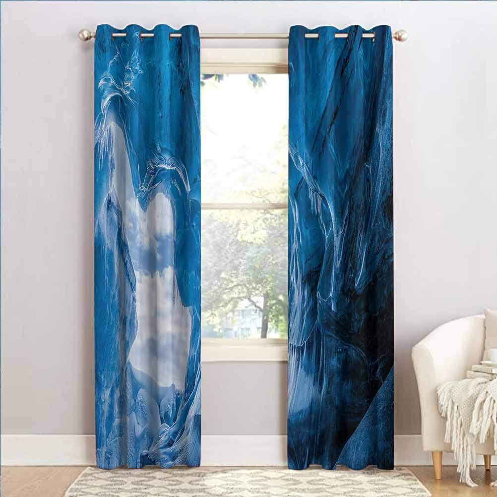 ScottDecor Natural Cave Elegant Drapes Privacy Protection and Home Decoration Glacier Frozen Chilled Den in Iceland Natural Odd Forms Nordic Scandinavian Image Blue 42