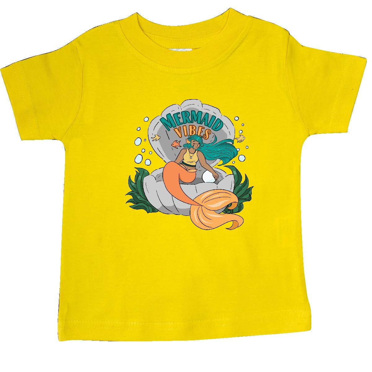 inktastic Mermaid Vibes with Orange Mermaid in Shell with Fish Baby T-Shirt
