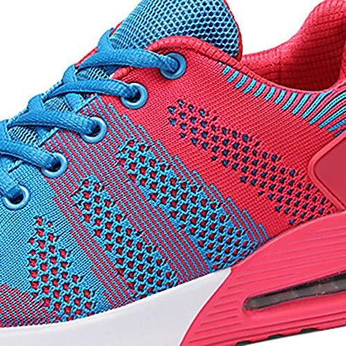 TTSHOES Sneakers Per Blue Tonda US7 UK5 Suole Autunno Rosa Leggere Lacci Tulle Donna Verde CN38 Comoda Primavera Scarpe EU38 5 Fucsia Punta 5 Piatto zzwrSq