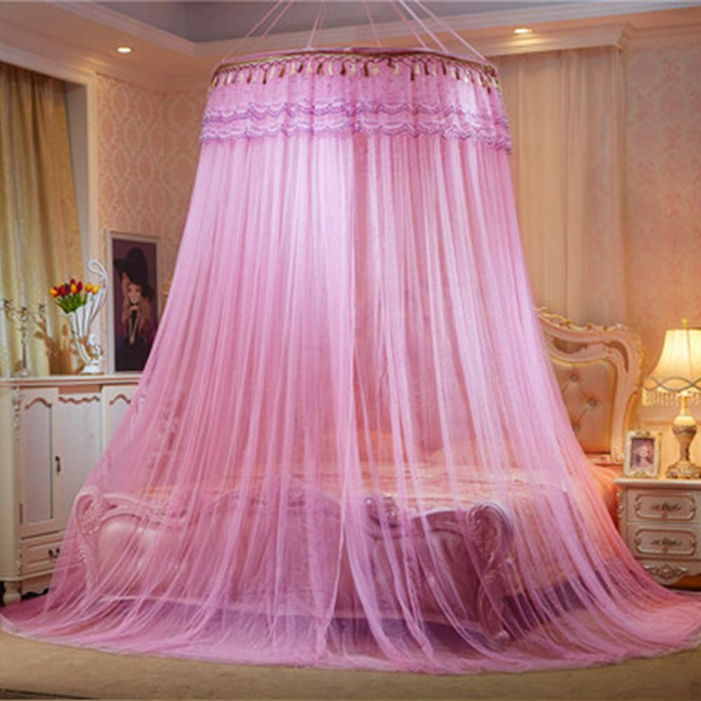 HEIFEN Mosquito Net Round Top 1.5m Diameter 360° All-Round Anti-Mosquito Appearance Encrypted Thick Mesh Pink