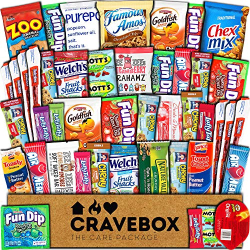 CraveBox Snacks 45 Count Ultimate Care Package Variety Box Gift Pack Assortment Basket Bundle Mixed Bulk Sampler Treats Bars Chips Candy Cookies College Finals Students Office Trips Mothers Day Boy ()