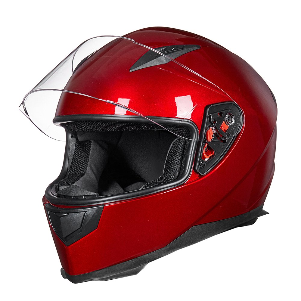 ILM Full Face Motorcycle Street Bike Helmet with Removable Winter Neck Scarf + 2 Visors DOT (L, Red) by ILM (Image #8)