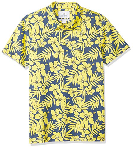 28 Palms Men's Standard-Fit Performance Cotton Tropical Print Pique Golf Polo Shirt, Blue/Yellow Hibiscus Floral, Medium ()