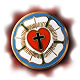 LUTHER ROSE SEAL LUTHERAN SYMBOL CHRISTIAN CROSS GOLD ENAMEL LAPEL PIN GIFT BOX