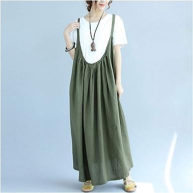 Vestido sin Mangas de Lino de algodón Flojo Ocasional de Verano de ...