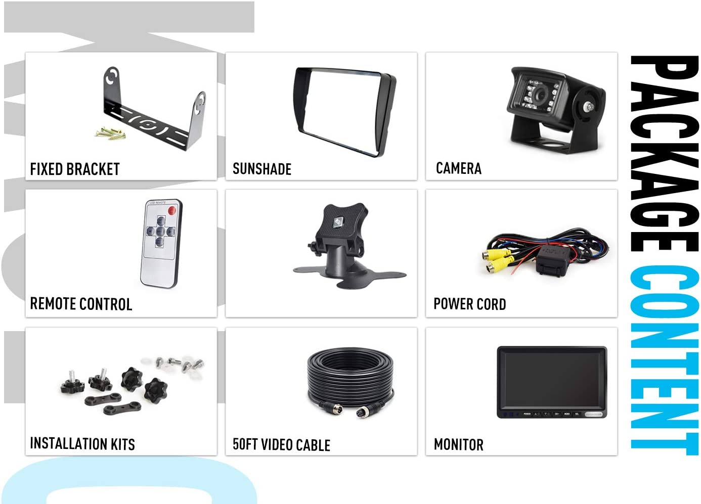 100/% Not Wash Up,IP69 Waterproof Rear View Camera ZEROXCLUB Backup Camera System Kit,Sharp CCD Chip ERY01-Wired 7/'/' LCD Reversing Monitor for Truck//Semi-Trailer//Box Truck//RV