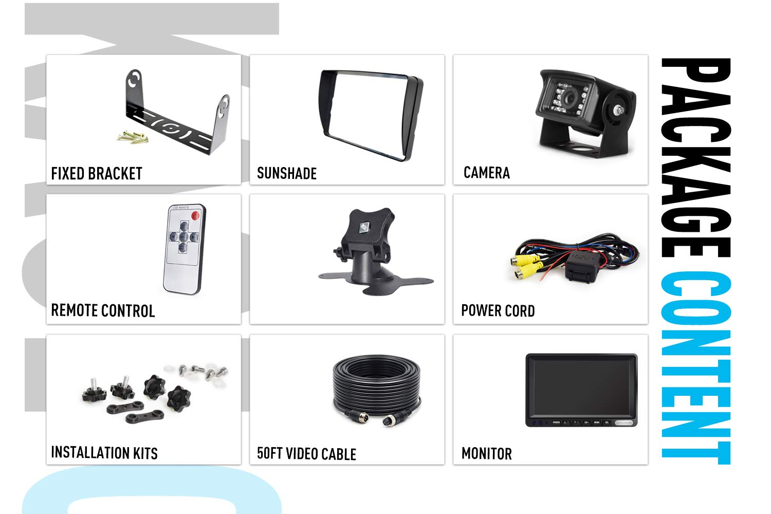 RV/'s ZEROXCLUB Commercial Grade CCD01 Rear View Safety Waterproof Backup Camera Built for Trucks,RVs,Buses and Trailers for ERY01