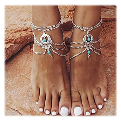 Fashion Jewelry Jewelry & Watches Vintage Ethnic White Metal Hollow Anklet Feet Bracelet Tribal Jewelery