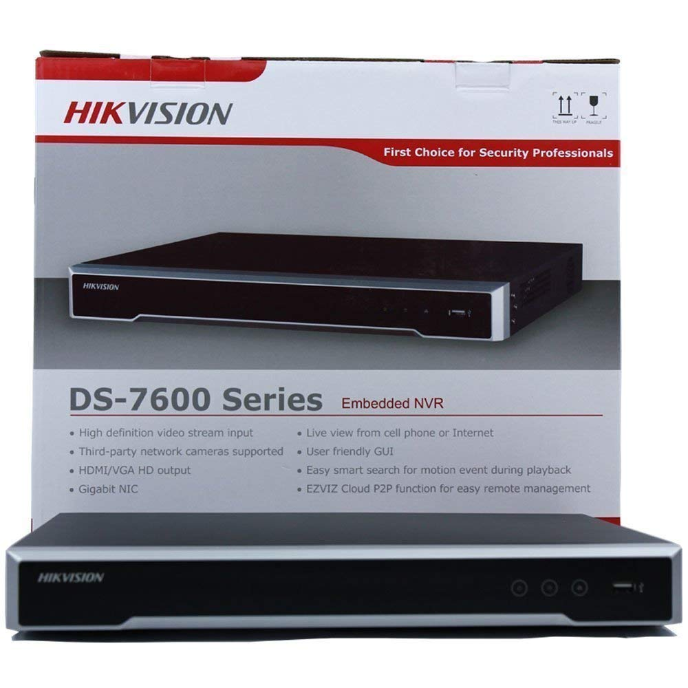 Hikvision NVR DS-7616NI-I2/16P 16 Channel 16 PoE Ports 4K(3840x2160) 12mp Network Video Recorder for IP Camera Support 6TB HDD(Not Include)