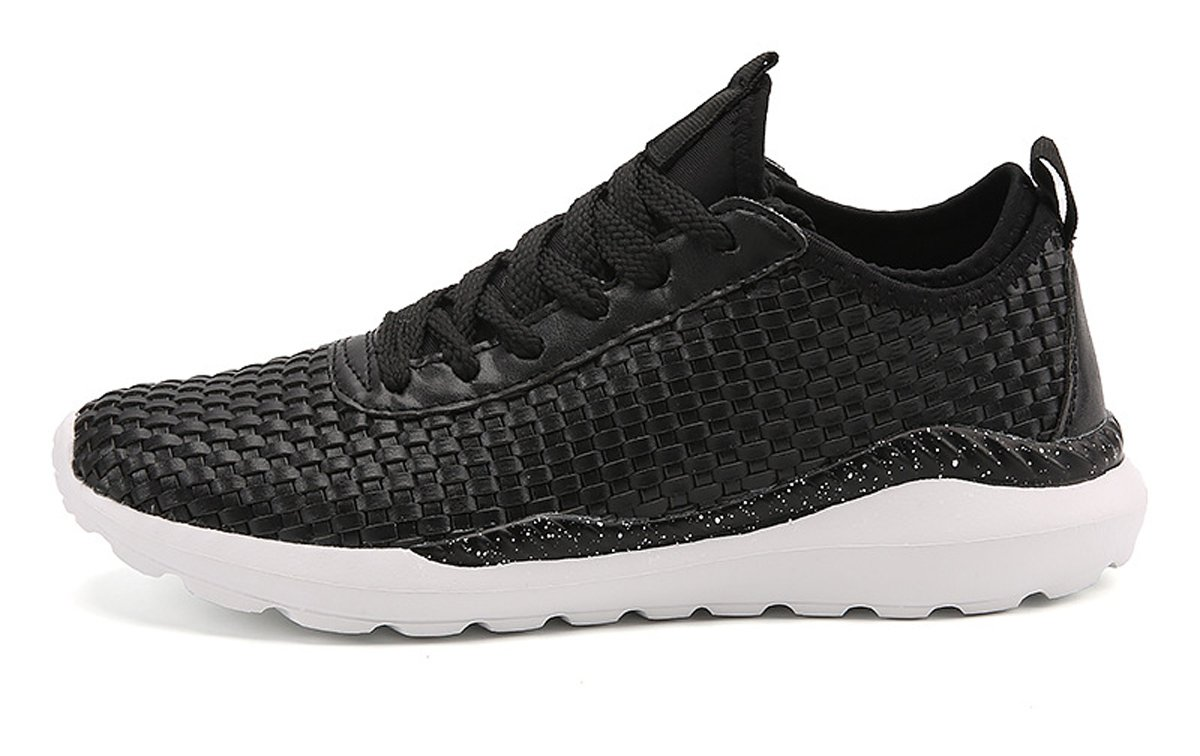 Mens Comfy Knit Stretchy Fabric Breathable Sneakers Casual Athletic Lightweight Walking Shoes B075T72N77 8 D(M) US|White Black