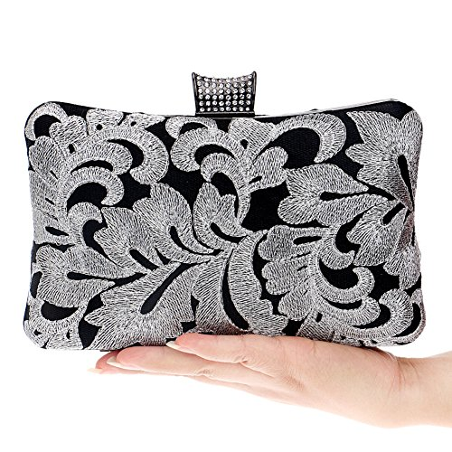 Ladies Evening Purse Wedding Lovely Wallet Womens Black Bags Clutch Bag Dress Embroidered Chain HFxgEOwx