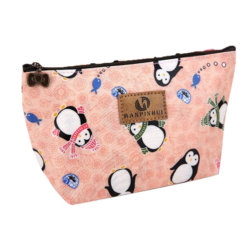 Lovely Animal Portable Makeup Cosmetic Bag Travel Toiletry Case Pouch Container - Penguin yingyue
