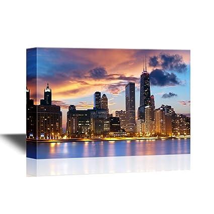 Amazon.com: wall26 USA City Skyline Canvas Wall Art - Chicago ...