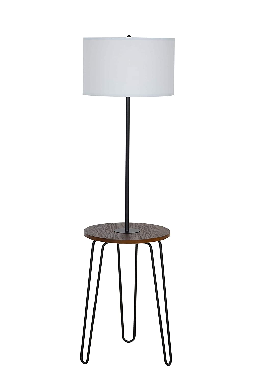 Catalina Lighting 21902-000 Mid-Century Modern Floor Lamp with Table and USB Port, 59 , Black