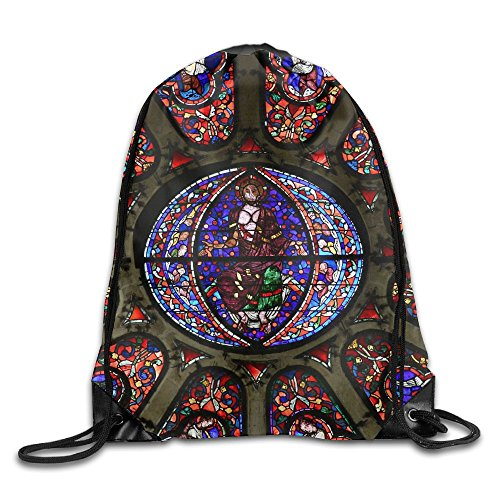 Yishuo Mantes La Jolie France October Stained Glass Window In The Gothic Notre Dame Drawstring Pack Beam Mouth Gym Sack Shoulder Bags For Men & - Dame Bag Gym Notre