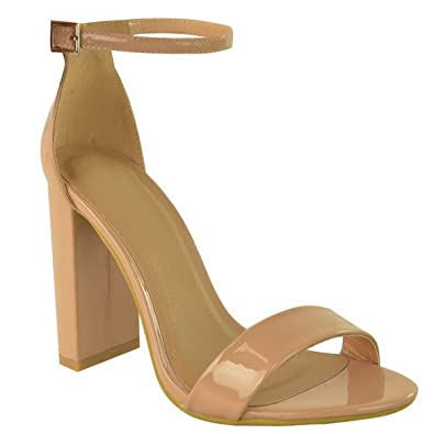 ffeaaa14714541 Ladies Womens Barely There Block Heel PEEP Toe Ankle Strap Sandals Shoes  Size  Mocha Nude