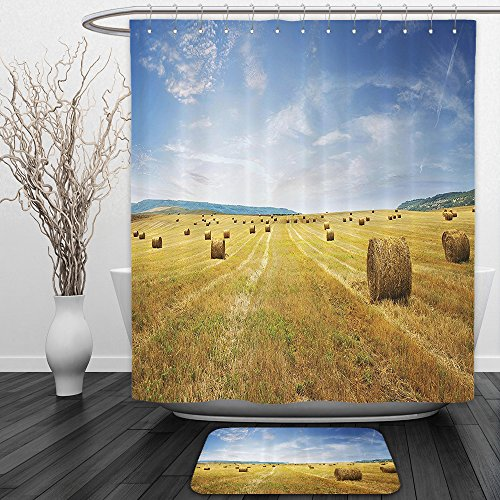 Vipsung Shower Curtain And Ground MatFarmhouse Decor Collection Stack of Straw on the Mown Field Beneath a Blue Sky Harvest Season in Tuscany Picture Blue KhakiShower Curtain Set with Bath Mats Rugs