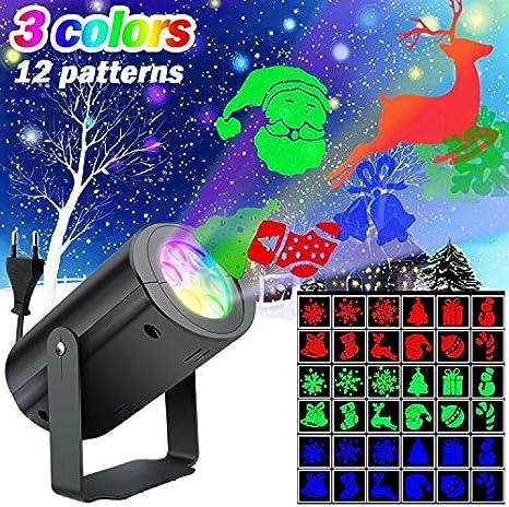 SunTop Luces de Proyector Navidad, LED Iluminación 12 Mover ...