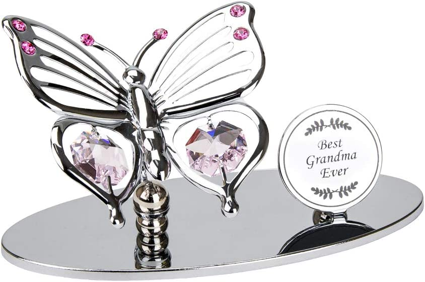 Haysom Interiors Silver Plated Metal Butterfly Best Grandma Ever Ornament with Pink Swarovski Crystal Glass   Beautiful Gift Idea