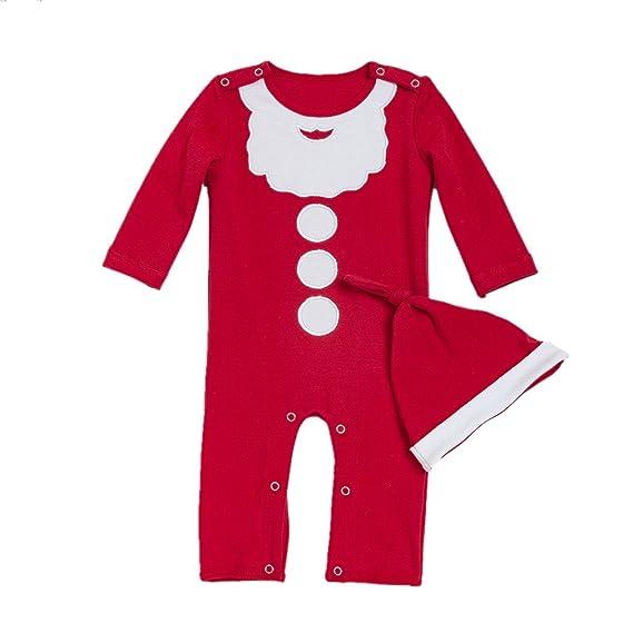 Decstore Bebé Niña Niño 2pcs Traje de Navidad Santa Footies Mameluco Pijama Durmiente con Sombrero