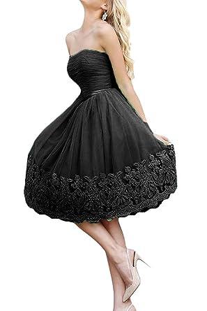 DressyMe Womens Vogue Tulle Short Evening Dress Party Gown Strapless Applique-2-Black