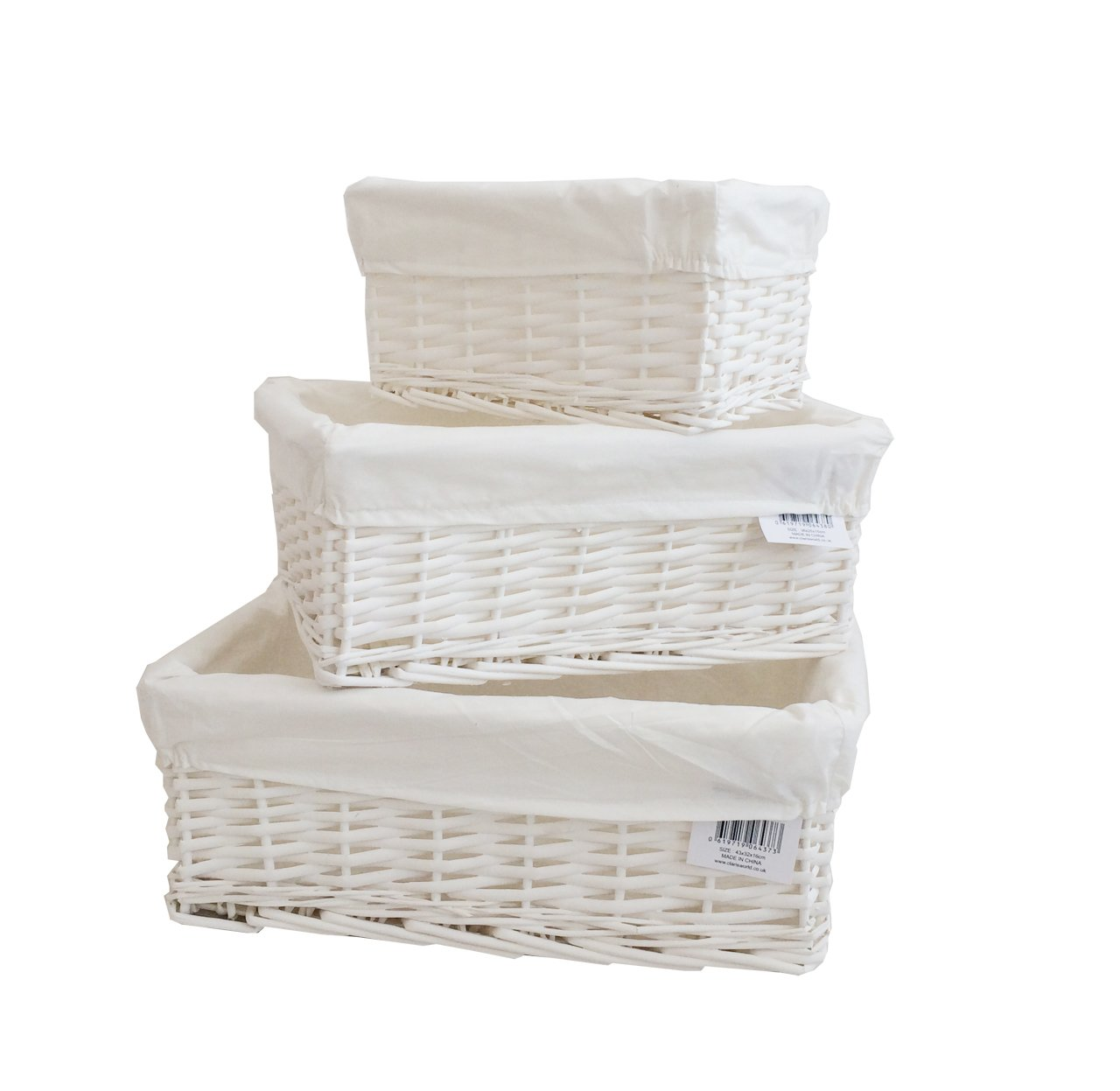Arpan Set Of 3 White Wicker Gift Hamper Storage Basket With White Cloth Lining CL-11-24-SET-OF3-LB