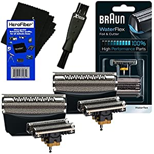 Braun 51B Foil & Cutter Replacement Head, Black (2 pack) for WaterFlex WF1s, WF2s Shavers + Double Ended Shaver Brush + HeroFiber Ultra Gentle Cleaning Cloth