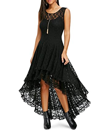 8e7a270170d9 KENNCY Women Sleeveless Floral Lace High Low Hem Cocktail Evening Gown Maxi  Party Dress Slim Tank