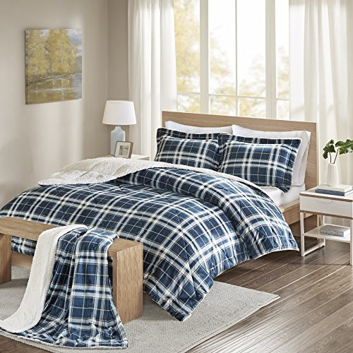 Comfort Spaces - Aaron Sherpa Comforter Set + Throw Combo - 4 Piece - Checker Plaid Pattern - Navy, Blue - Full/Queen Size - Ultra Softy, Fluffy, Warm - includes 1 Comforter, 2 Shams, 1 Throw