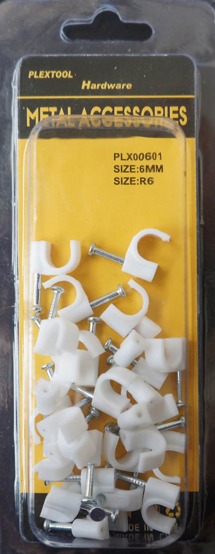 Plextool Cable Clip with Steel Nail Size R6, 28pcs - 24 in bag672pcs (PLX00601) by Plextool