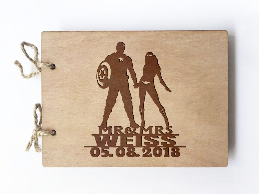 Wedding guest book - Notebook - inspired by Captain America and Wonder woman by Frog Studio Home (Image #1)
