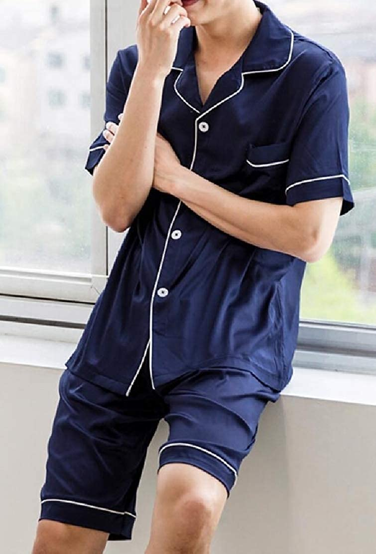 WSPLYSPJY Mens Silk Satin Long Sleeve Pajamas Set Sleepwear Loungewear
