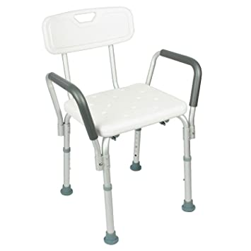 Shower Chair With Back By Vive   Bathtub Chair W/ Arms For Handicap,  Disabled