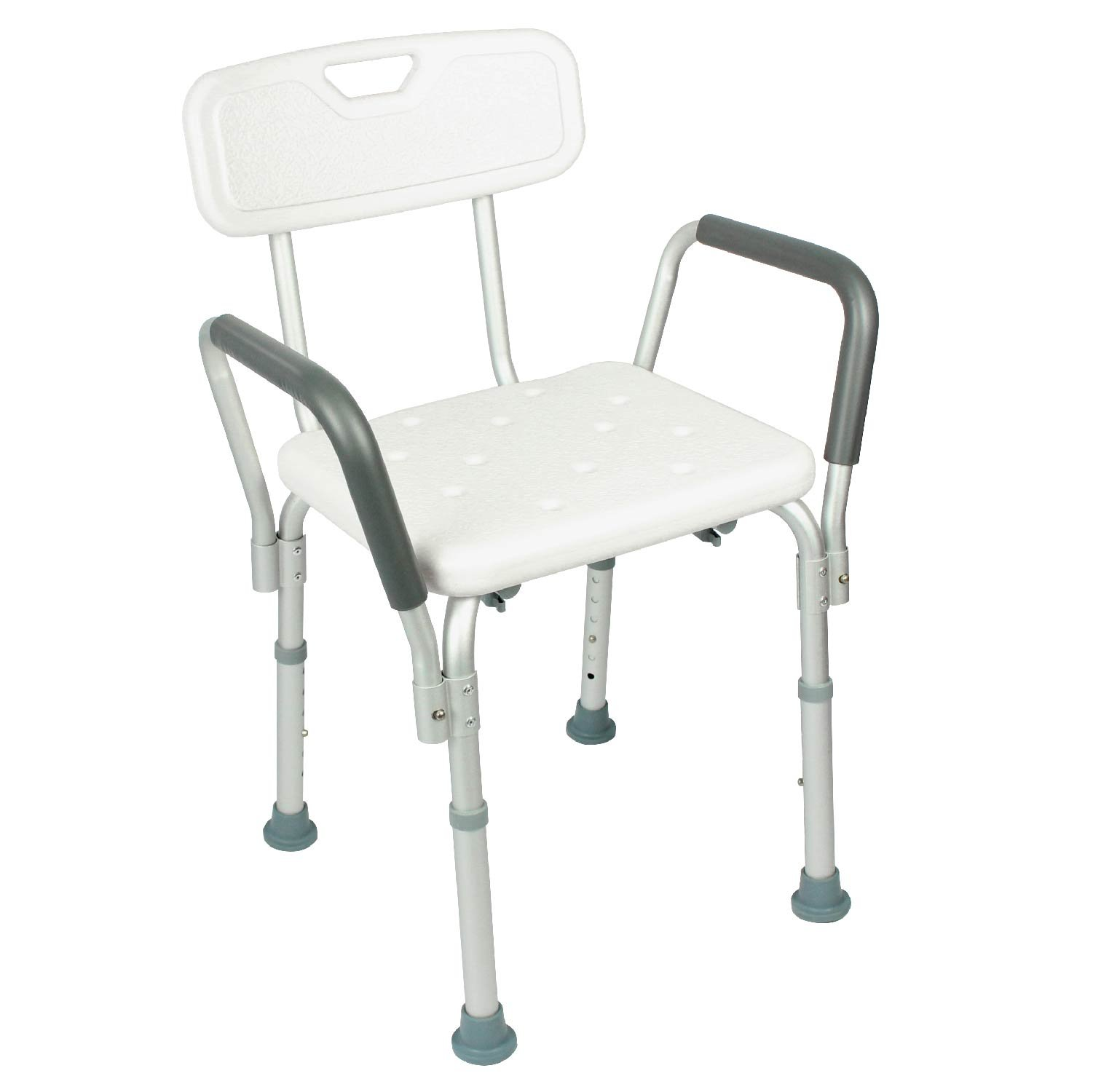 Shower Chair with Back by Vive - Bathtub Chair w/Arms for Handicap, Disabled, Seniors & Elderly - Adjustable Medical Bath Seat Handles for Bariatrics - Non Slip Tub Safety