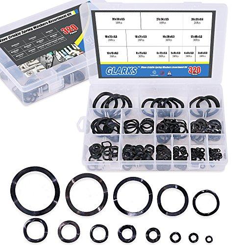 (Glarks 320Pcs Carbon Steel Compression Type Wavy Wave Crinkle Spring Washers Assortment Kit )