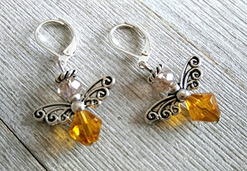 Champagne Hand Lever (Honey Bee Earrings-Honey Bee Angel Earrings - Honey Bee Lever back Earrings - Topaz and Champagne Colored Bee Charms- Tibetan Silver Bee Jewelry - Bumble Bee Charm - Heart Chakra - November birthstone)
