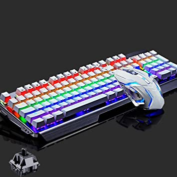 Teclados para gamers Juegos de teclado mecánicos Teclado Oficina Internet Bar Juegos Gaming Laptop Panel de aluminio Retroiluminación Teclado Periféricos ...