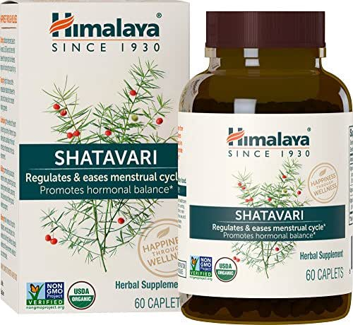 Himalaya Organic Shatavari for Menstrual Regulation and Hormonal Balance, 1,300 mg, 1 Month Supply, 60 Caplets