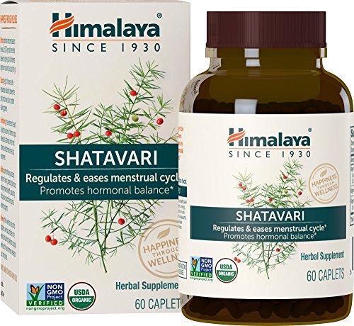 - Himalaya Organic Shatavari for Menstrual Regulation and Hormonal Balance, 1,300 mg, 1 Month Supply, 60 Caplets