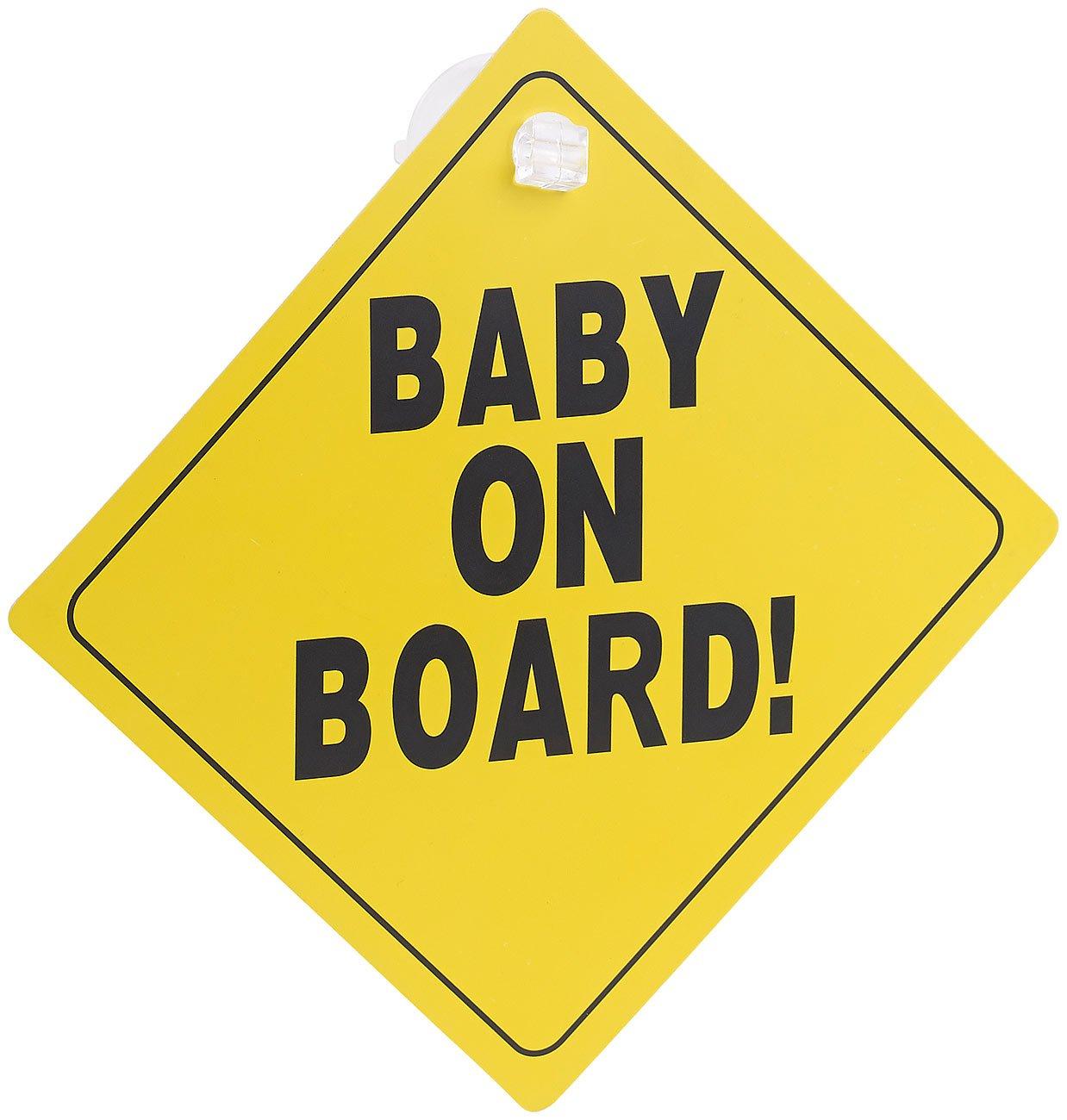 infactory Baby-Schilder für Autos: SchildBaby on Board mit Saugnapfbefestigung, PVC, 135 x 135 mm (Baby-Schild für Auto) No-Name
