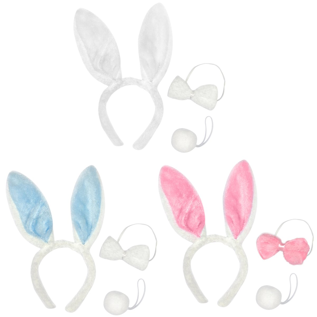 Toptie Wholesale Set of 3 Bunny Ears Headband, Soft Touch Plush Party Accessory-Pink-1SET PTGH-DI92612_PINK-1SET