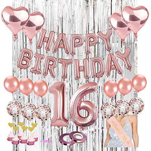 16th Birthday Decoration Kit. Kwayi Sweet 16th Birthday Supplies With HAPPY BIRTHDAY Foil Balloon, Confetti Balloon, 32