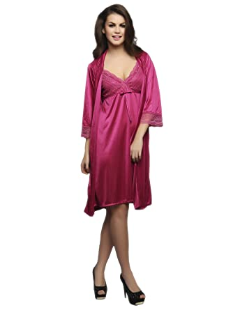 Clovia Women s 2 Pc Satin Nighty And Robe Set (Red Free Size ... 34794729e